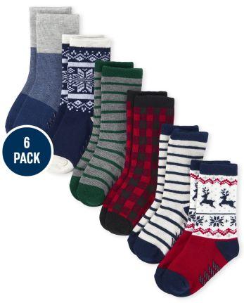 Toddler Boys Buffalo Plaid Crew Socks 6-Pack