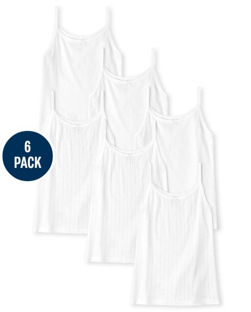 Camiseta básica sin mangas para niñas, paquete de 6