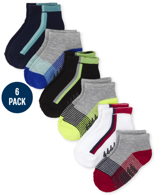 Toddler Boys Striped Cushioned Ankle Socks 6-Pack