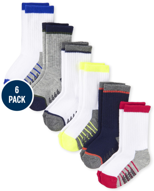 Toddler Boys Striped Cushioned Crew Socks 6-Pack