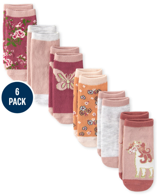 Toddler Girls Floral Butterfly Ankle Socks 6-Pack