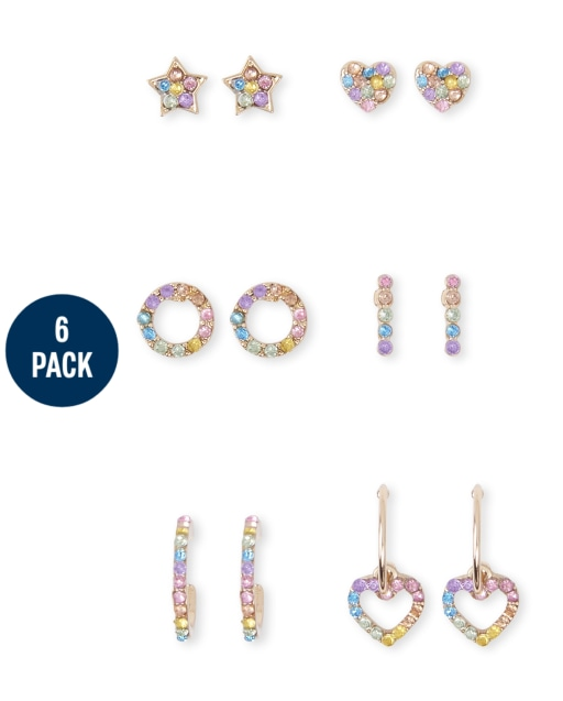 Girls Jewel Earrings 6-Pack