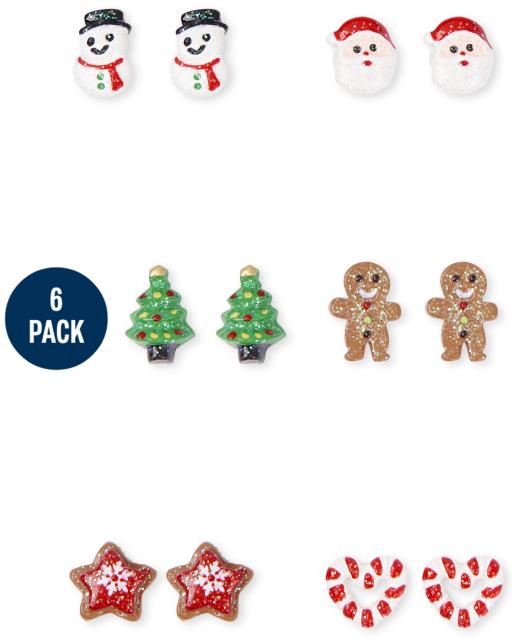 Girls Christmas Earrings 6-Pack