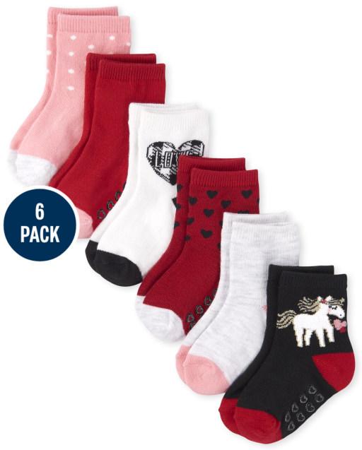 Paquete de 6 calcetines a media pierna Love para niñas pequeñas