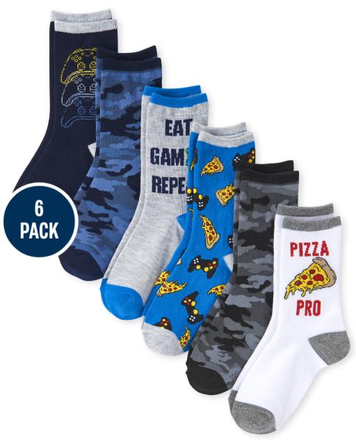 Boys Pizza Crew Socks 6-Pack