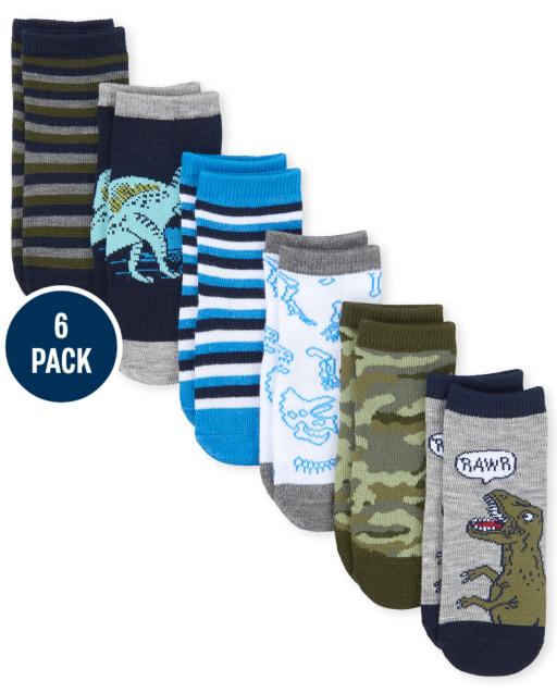 Toddler Boys Dino Midi Socks 6-Pack