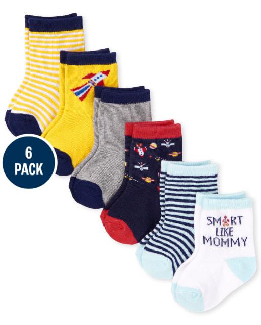 Baby Boys Space Midi Socks 6-Pack
