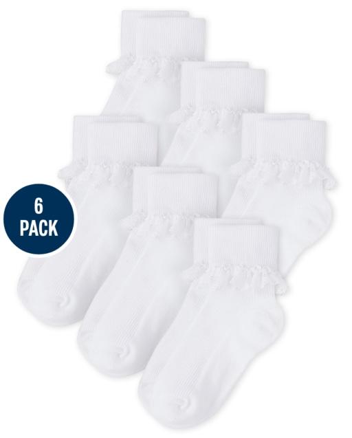 Pack de 6 pares de calcetines con puños vueltos y volantes para niñas