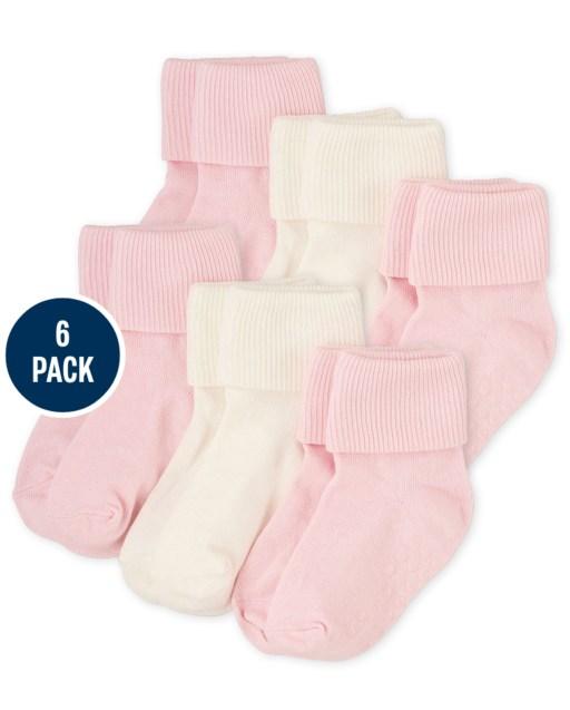 Paquete de 6 calcetines con puños giratorios para bebés y niñas pequeñas