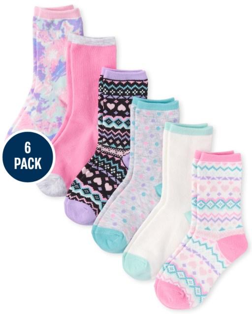 Girls Fairisle Crew Socks 6-Pack