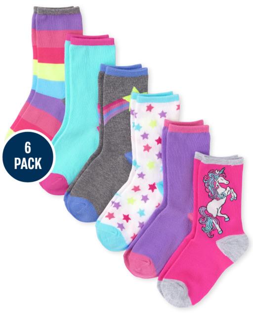 Girls Unicorn Crew Socks 6-Pack
