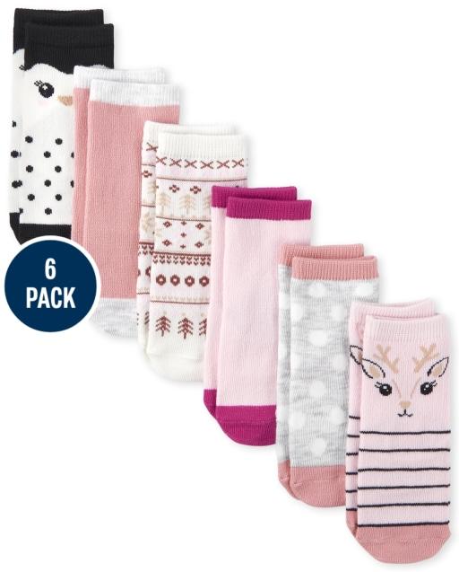 Paquete de 6 calcetines a media pierna Critter para niñas pequeñas