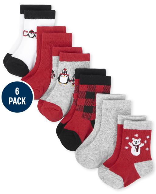 Baby Boys Buffalo Plaid Midi Socks 6-Pack