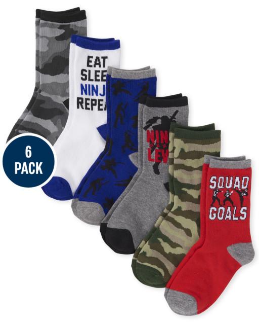 Boys Ninja Crew Socks 6-Pack