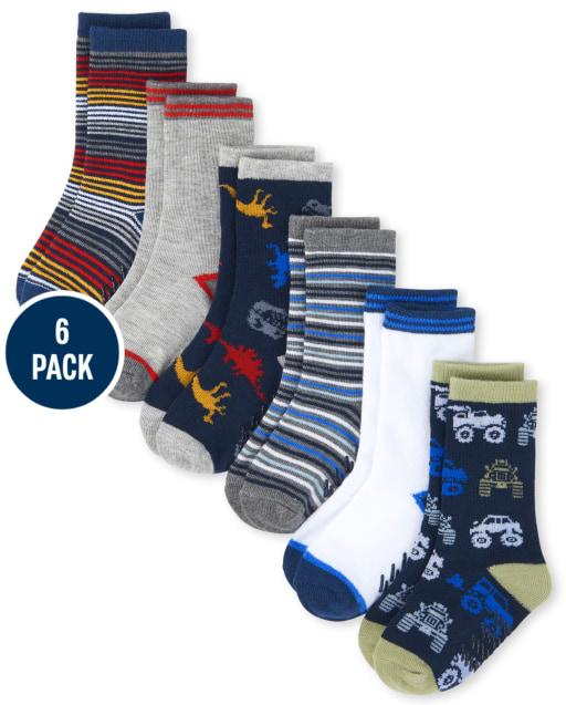 Toddler Boys Striped Crew Socks 6-Pack