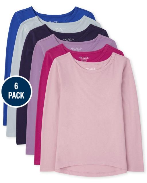 Camiseta básica de manga larga para niñas, paquete de 6