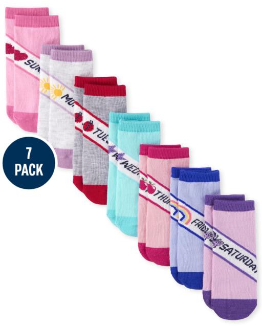 Paquete de 7 calcetines a media pierna para los días de la semana para niñas pequeñas