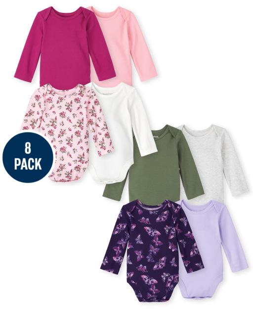 Baby Girls Long Sleeve Bodysuit 8-Pack