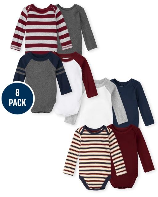 Baby Boys Long Sleeve Bodysuit 8-Pack