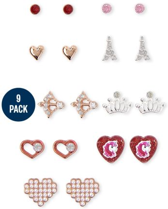 Girls Heart Earrings 9-Pack