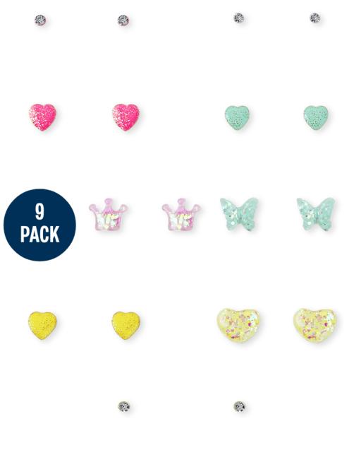 Girls Rainbow Glitter Earrings 9-Pack