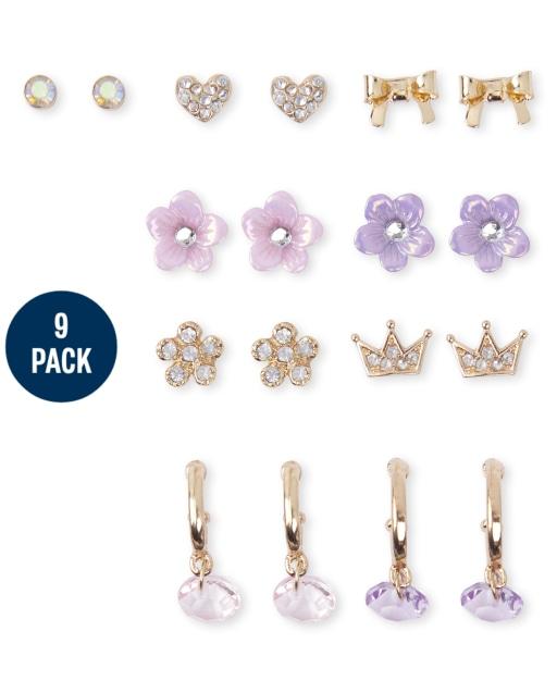 Girls Princess Earrings 9-Pack