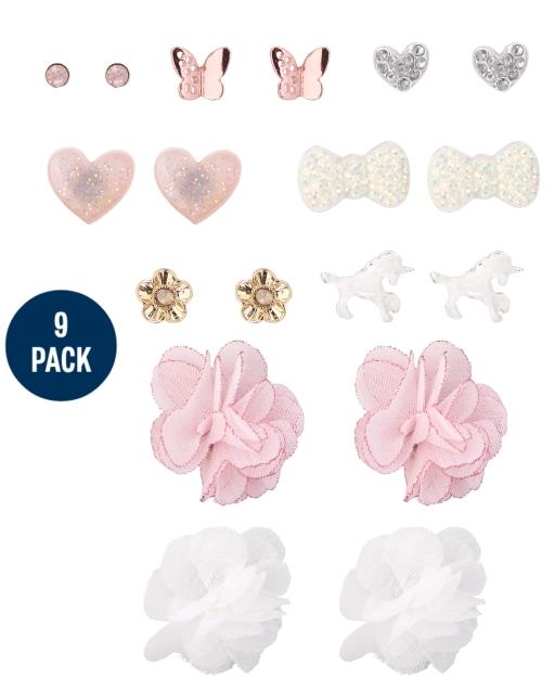 Girls Flower Earrings 9-Pack