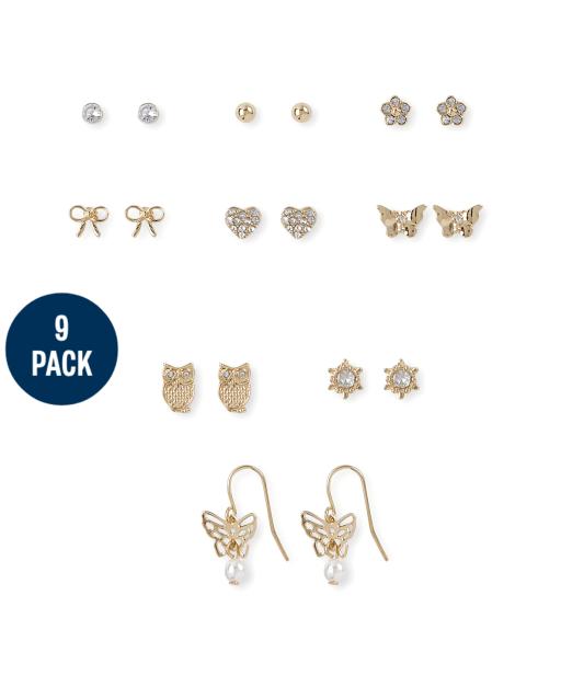 Girls Butterfly Earrings 9-Pack