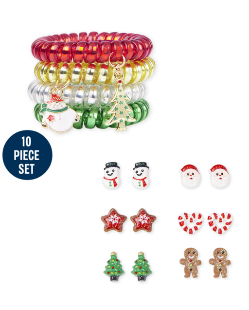Girls Christmas Earring And Coil Bracelet 10-Piece Jewelry Set