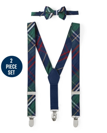 Boys Plaid Bow Tie And Suspenders Set - Family Celebrations Green
