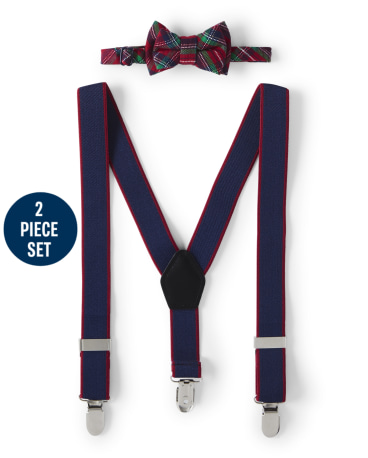 Boys Plaid Bow Tie And Suspenders Set - Family Celebrations Red