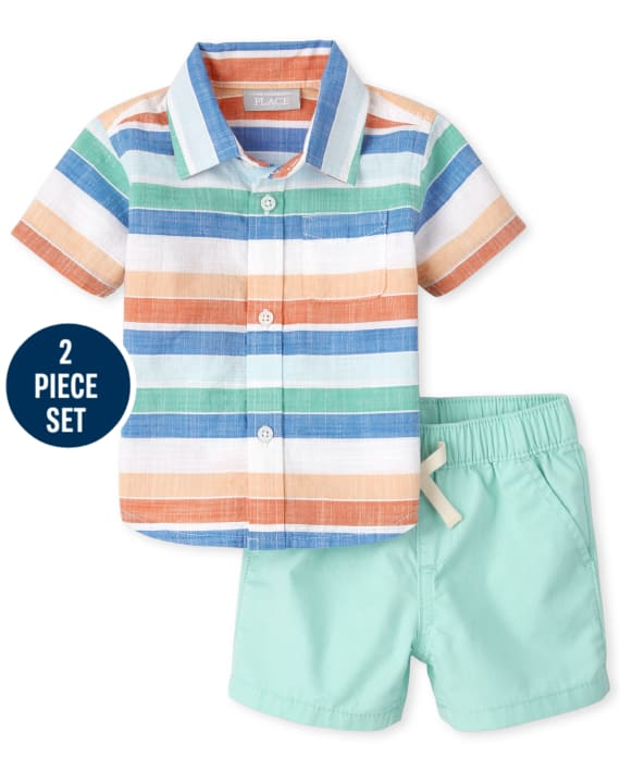 The Children's Place Baby Boys Striped Chambray Outfit Set