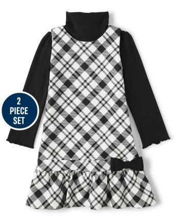 Girls Plaid Peplum Dress And Turtleneck Set - Reindeer Cheer