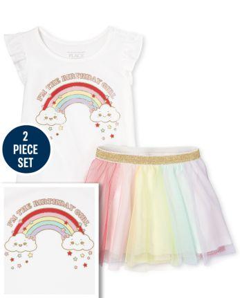 Toddler Girls Birthday Rainbow 2-Piece Set