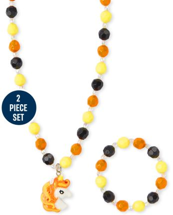Girls Halloween Unicorn Beaded Necklace And Bracelet Set