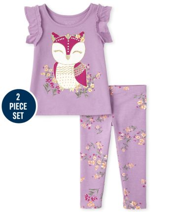 Toddler Girls Floral Owl 2-Piece Set