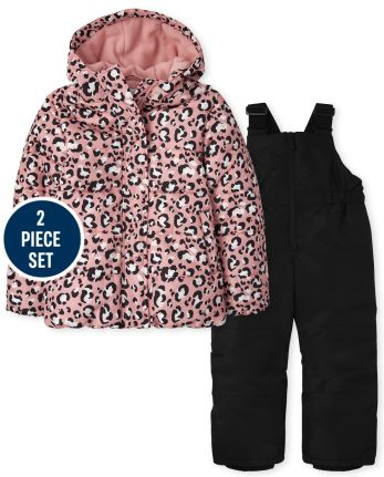 Girls Leopard 2-Piece Snow Set