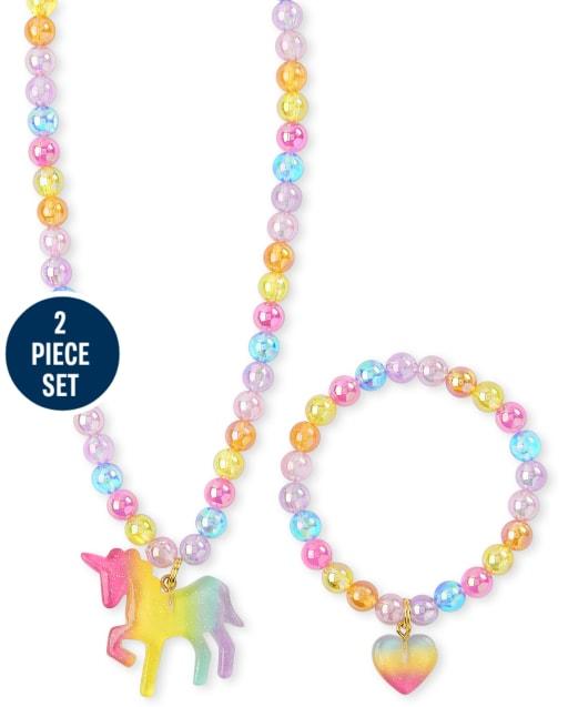 SUNSK Bijoux Enfants Bracelet Fille Collier Princesse Bracelet Bois Colliers Color/ées Stretch en Perles de Bois de Licorne Ensemble de Bijoux 3 Ensembles Licorne, Ange, Flamant