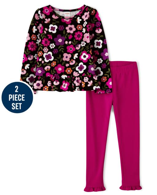 Conjunto de leggings de punto con volantes y top peplum con estampado floral de manga larga para niñas - Favorito del '