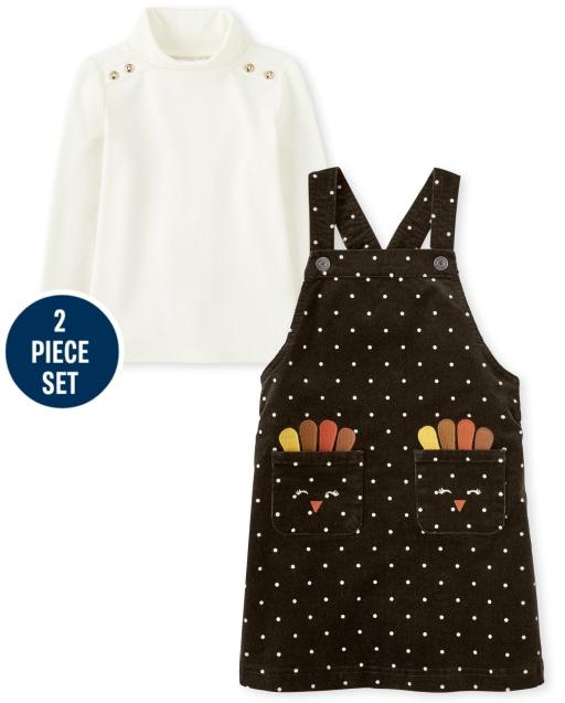 Falda de pana sin mangas con estampado de pavo bordada sin mangas para niñas, conjunto de top de cuello alto con volantes y manga larga - Harvest