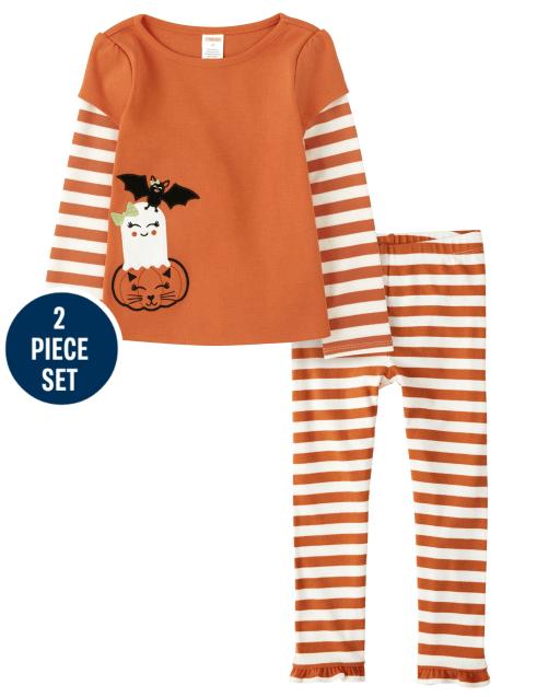 Conjunto de leggings con volantes de punto a rayas y top de Halloween 2 en 1 bordado de manga larga a rayas para niñas - Lil ' Pumpkin