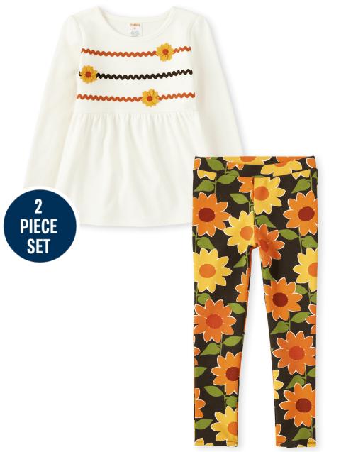 Conjunto de jeggings de punto con estampado de girasol y top babydoll de girasol bordado y apliques de manga larga para niñas - Harvest