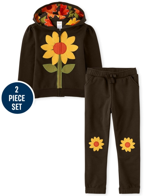 Conjunto de sudadera con capucha y cremallera de vellón de girasol bordado de manga larga para niñas y pantalones jogger de vellón con parche de girasol bordado - Harvest