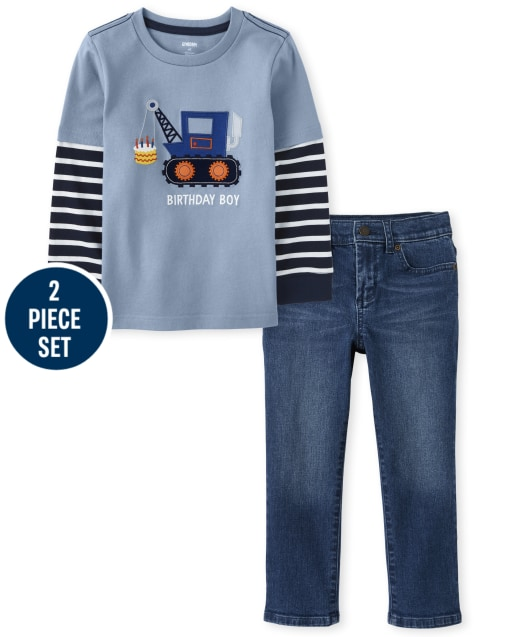 Boys Long Striped Sleeve Embroidered Construction Truck Birthday Boy Layered Top And Five Pocket Jeans Set - Birthday Boutique