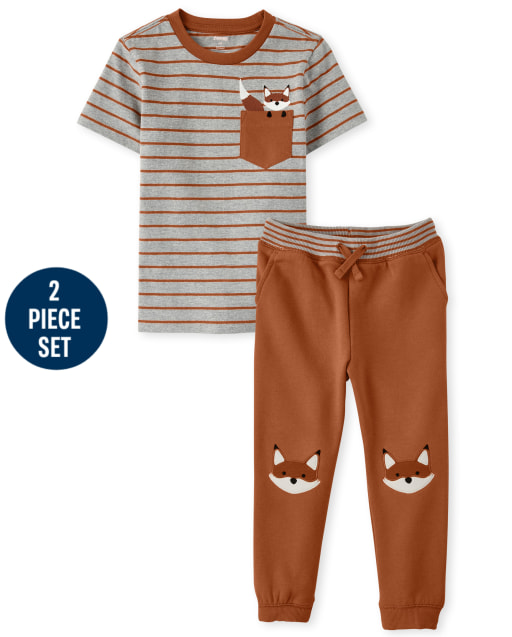 Boys Short Sleeve Embroidered Striped Pocket Top And Embroidered Fox Patch Fleece Jogger Pants Set - Harvest