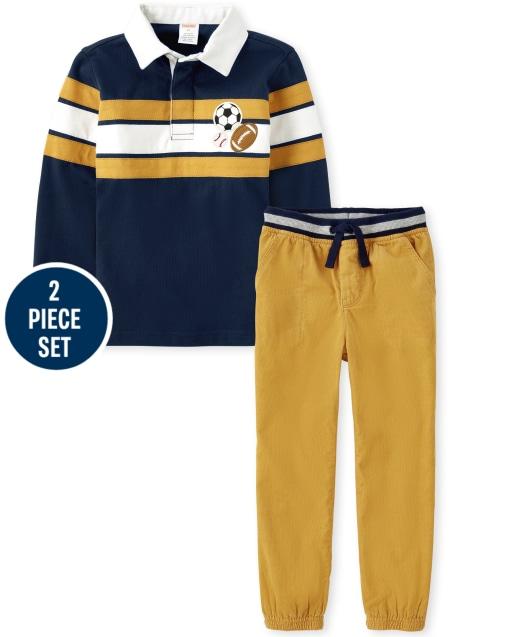 Conjunto de pantalón de chándal de pana y polo de rayas deportivas bordadas de manga larga para niños - Future MVP