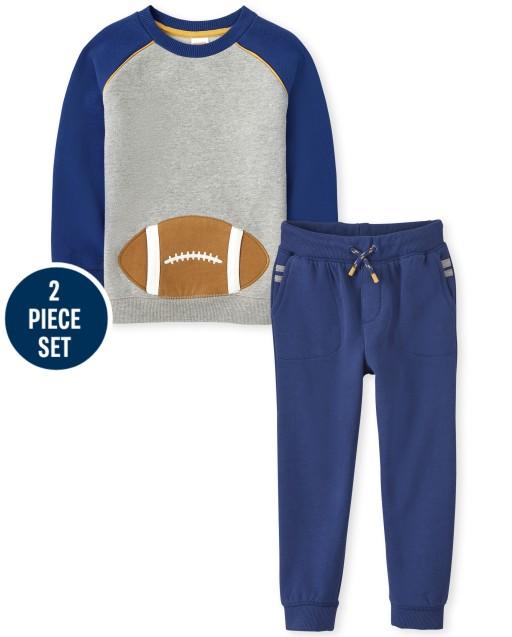 Conjunto de sudadera de forro polar de fútbol con bordado de manga raglán larga y pantalones de chándal de forro polar a rayas para niños - Future MVP