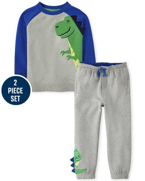 Conjunto de sudadera T-Rex bordada de manga raglán larga para niños y pantalones jogger de polar T-Rex bordados - Dino Dude