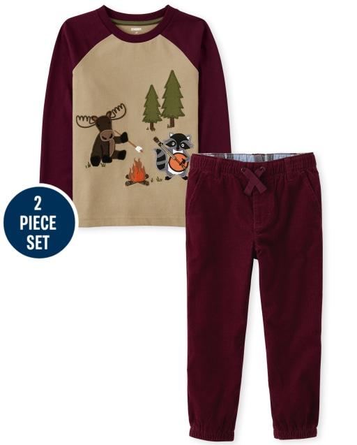 Conjunto de pantalón de chándal de pana y top raglán bordado de manga larga para niños - Critter Campout
