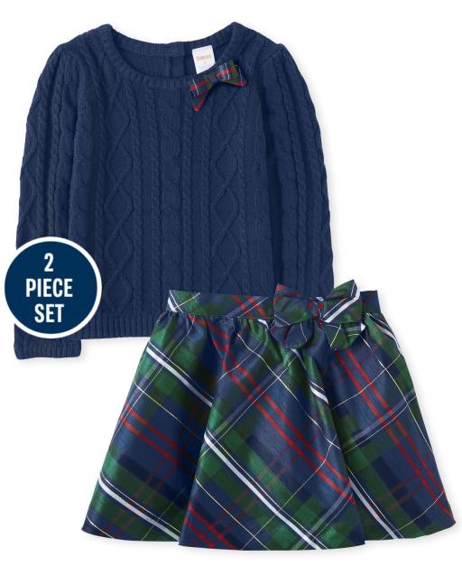 Conjunto de falda y suéter para niñas - Celebraciones familiares